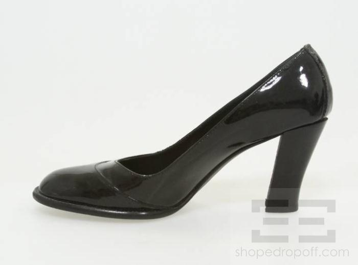 Chanel Black Patent Leather Stacked Heel Pumps Size 40