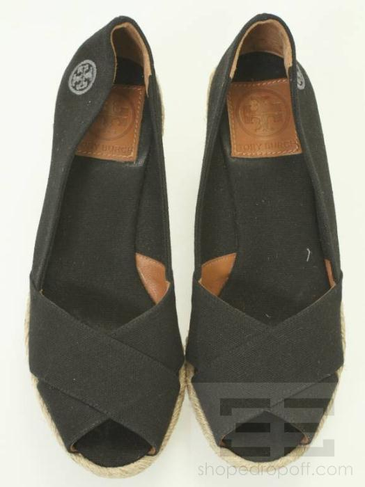 241c41b48192 Tory Burch Black Canvas Espadrille Wedges Size 6 on PopScreen