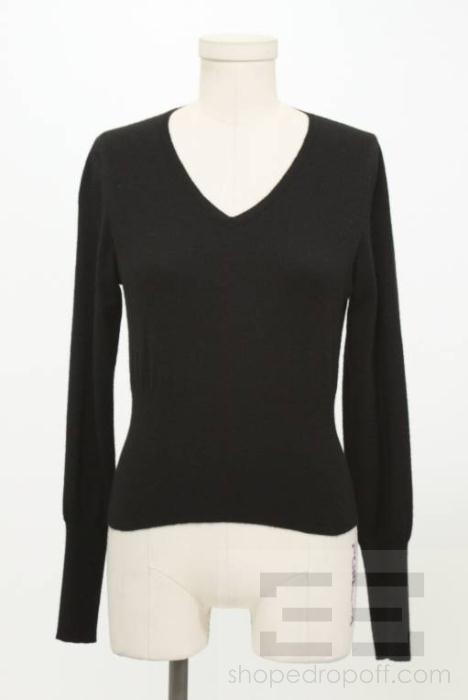Brunello Cucinelli Black Cashmere V Neck Sweater Size M
