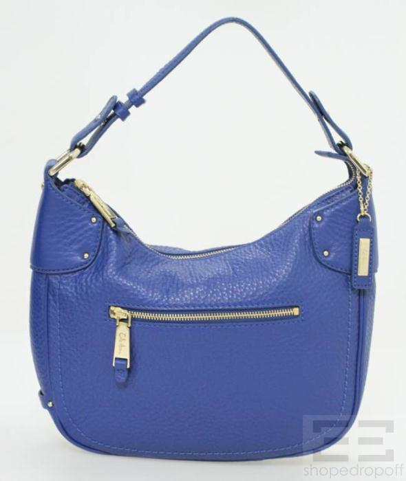Cole Haan Cobalt Blue Pebbled Leather Shoulder Bag NEW