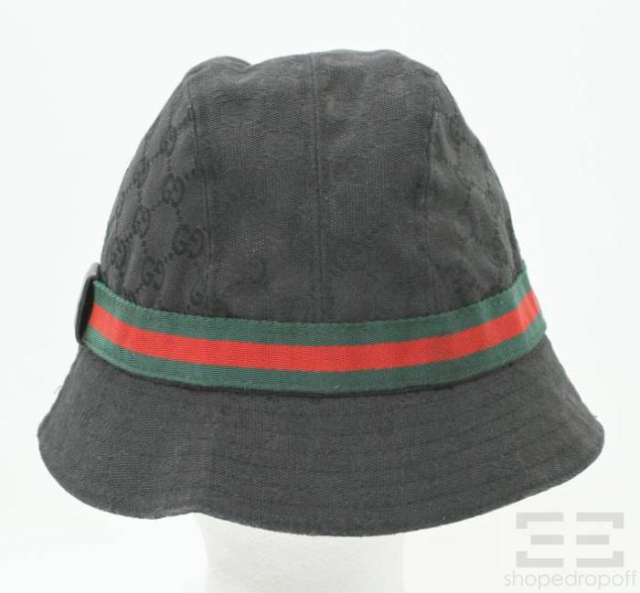 gucci black monogram canvas web trim bucket hat size medium. Black Bedroom Furniture Sets. Home Design Ideas
