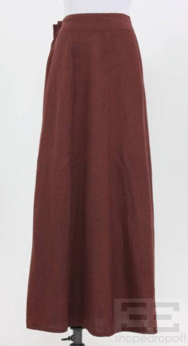 3a9cd39a89c8 Krista Larson Red Brown Gathered Linen Maxi Skirt on PopScreen