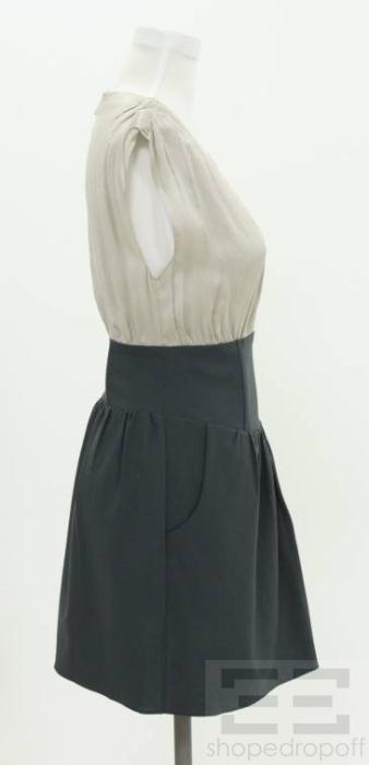 Geren Ford Grey Silk & Dark Grey Wool Sleeveless Pleated A Line Dress
