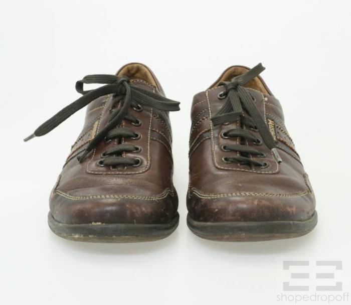 mephisto brown leather s lace up tennis shoes size us