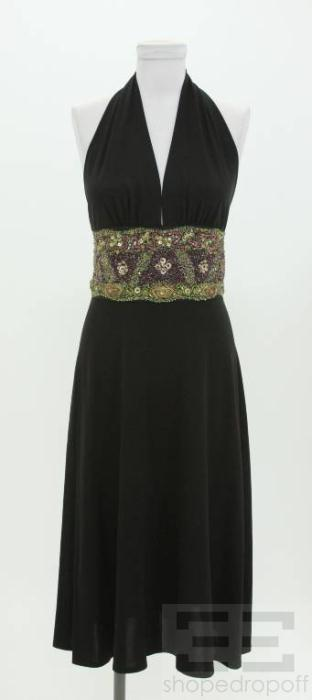 Max Mara Black Multicolor Beaded Halter Dress Size 40