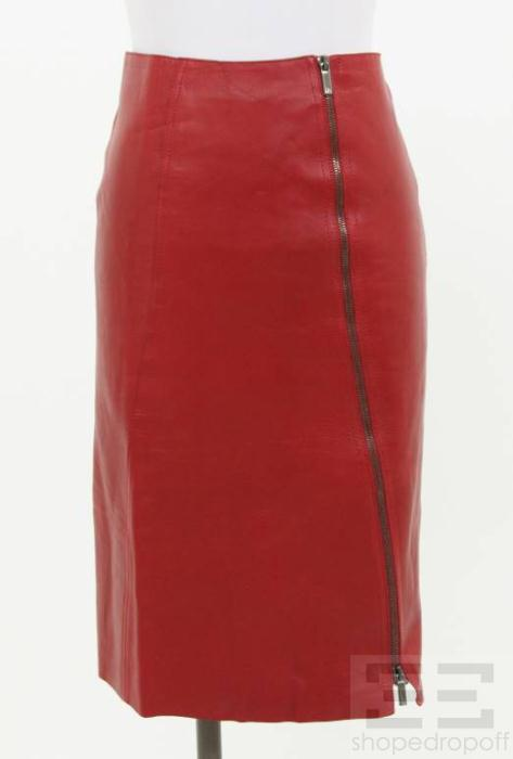 gucci red leather gunmetal zip jacket  u0026 skirt suit size 40
