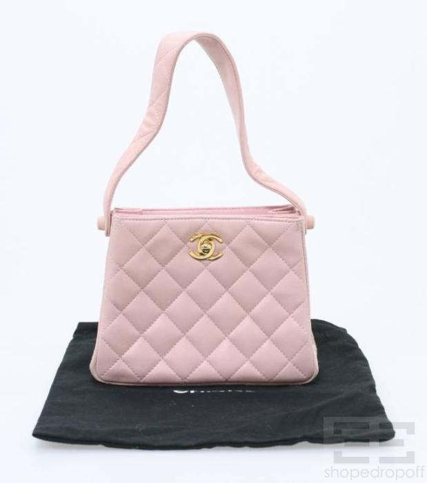 Chanel Pink Quilted Leather 22K Gold Plated Small Two Compartment