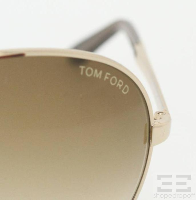 bd814300b4 Tom Ford Gold Charles Brown Gradient Aviator Sunglasses on PopScreen