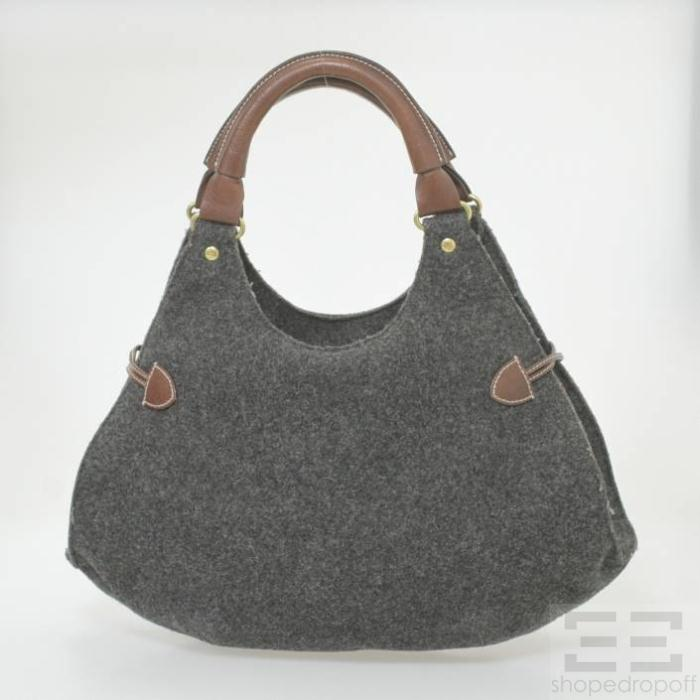 Kate Spade Charcoal Grey Felted Wool & Brown Leather Hobo Bag