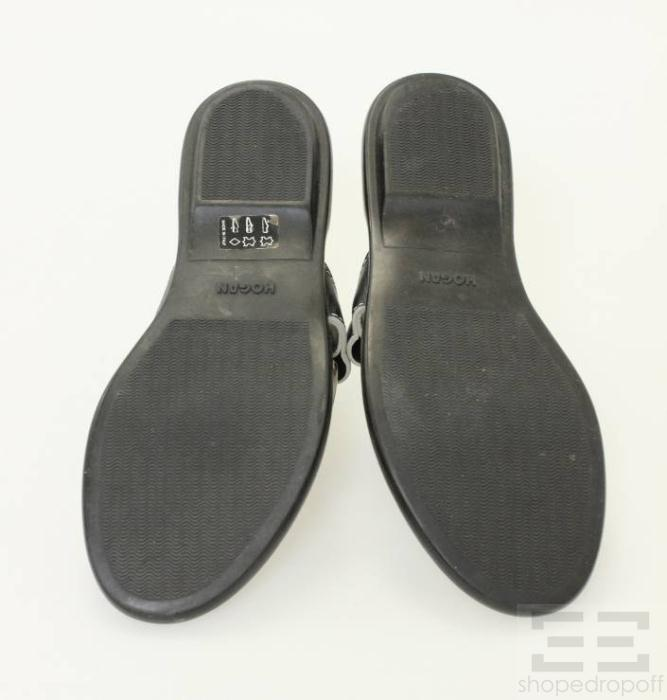 Hogan Black Leather Silver Ring Sandals Size 38.5