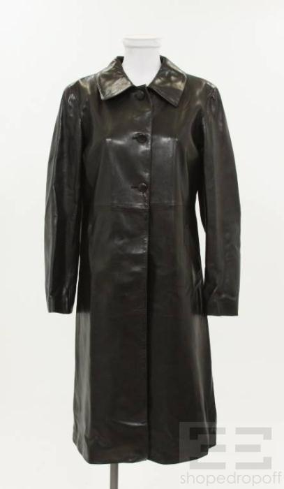 Agnes B. Special Black Leather A Line Mid Length Jacket Size 2