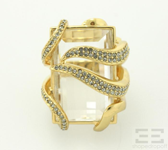 Tony Duquette for Coach Gold Plated Sterling Silver Jeweled Stone Ring