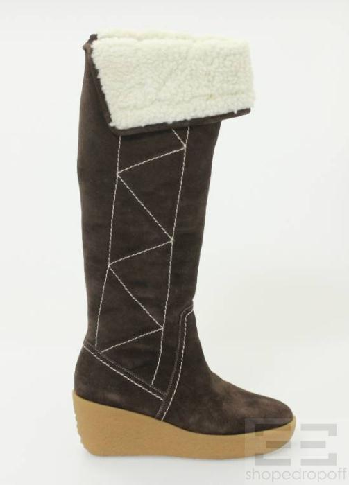 Michael Michael Kors Brown Suede Tall Wedge Boots New Size 5