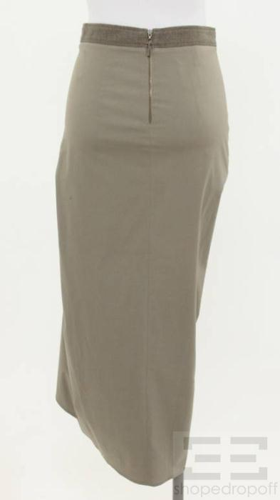 Brunello Cucinelli Taupe Pleated Front Slit Long Evening Skirt Size US