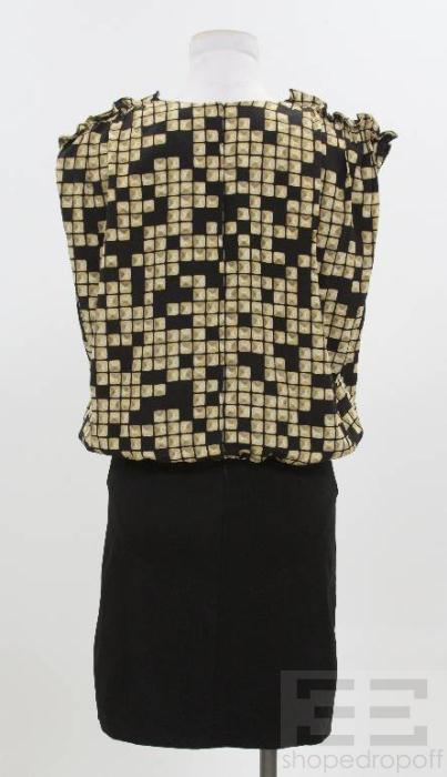 Alexander Wang Black Gold Printed Silk Dress Size 10 New
