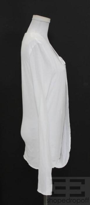 Firma White Cotton Tie Neck Long Sleeve Shirt Size 40 New
