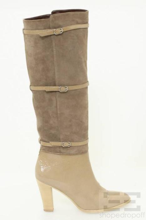 15bc2444c7a Delman Taupe Patent Leather Suede Buckle Knee High Boots Size 6 5 on ...