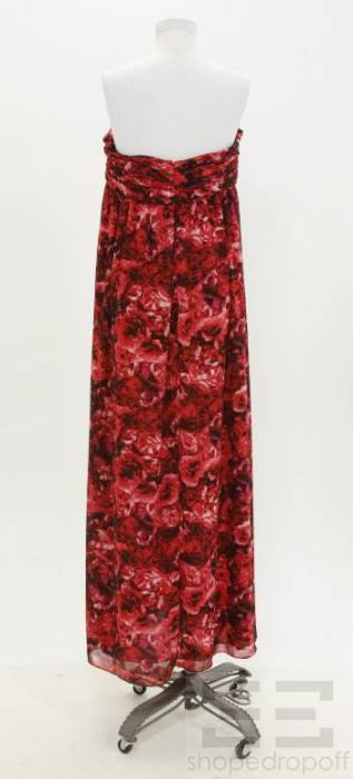 Giambattista Valli for  Red & Black Abstract Print Pleated Dress