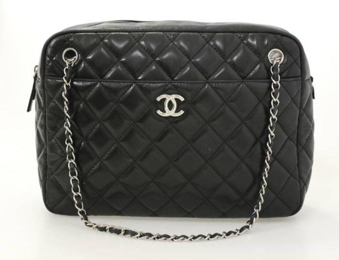 d11d57a17455 Black Quilted Bag With Silver Chain Strap | Stanford Center for ...
