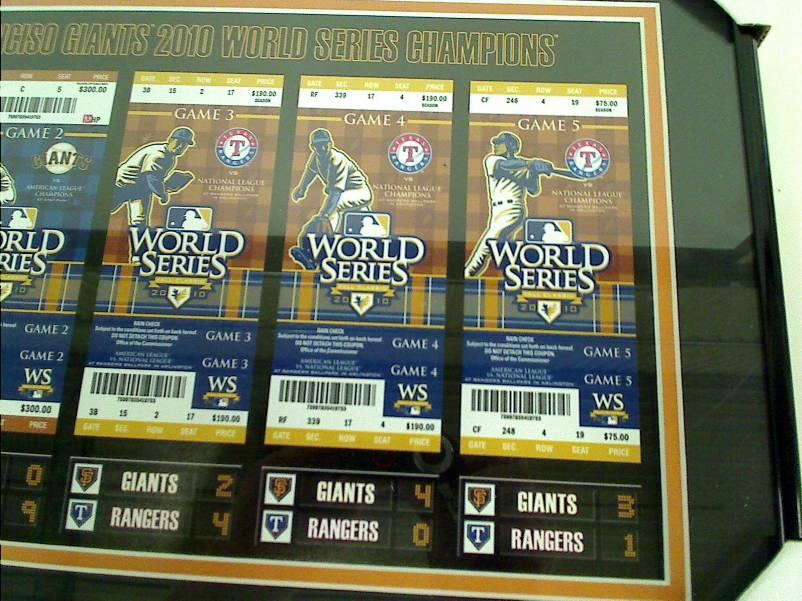 MLB San Francisco Giants 2010 World Series Tickets to History Framed Print