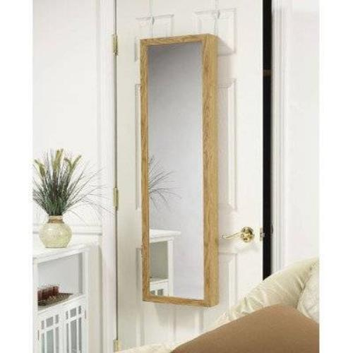 mirrotek jewelry armoire over the door mirror cabinet oak. Black Bedroom Furniture Sets. Home Design Ideas