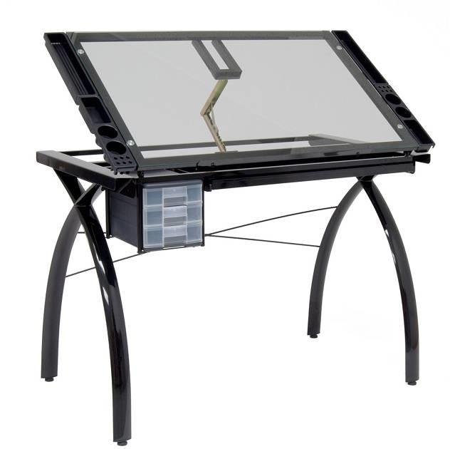 Studio designs futura drafting table with glass top tadd for Design table top konkrit