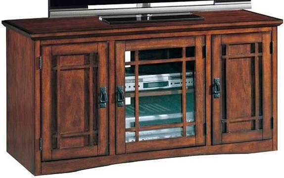 leick riley holliday mission tall tv stand 50 inch oak ebay. Black Bedroom Furniture Sets. Home Design Ideas