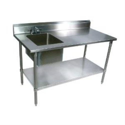 John boos ept6r5 3060gsk l stainless steel prep table with sink bowl