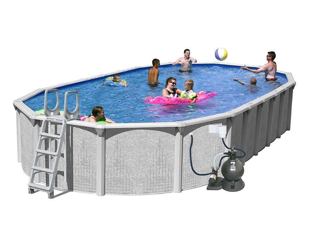 Splash pools above ground slim style oval pool package ebay for Above ground pool packages cheap