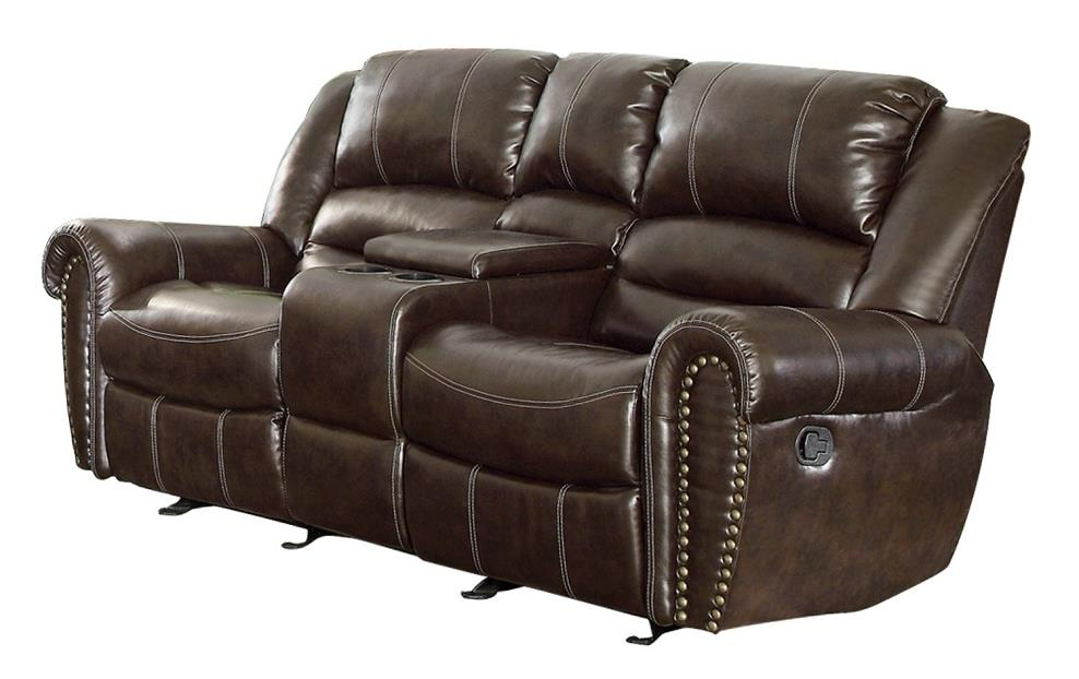 Homelegance 9668brw 2 double glider reclining loveseat with center console ebay Reclining loveseat with center console
