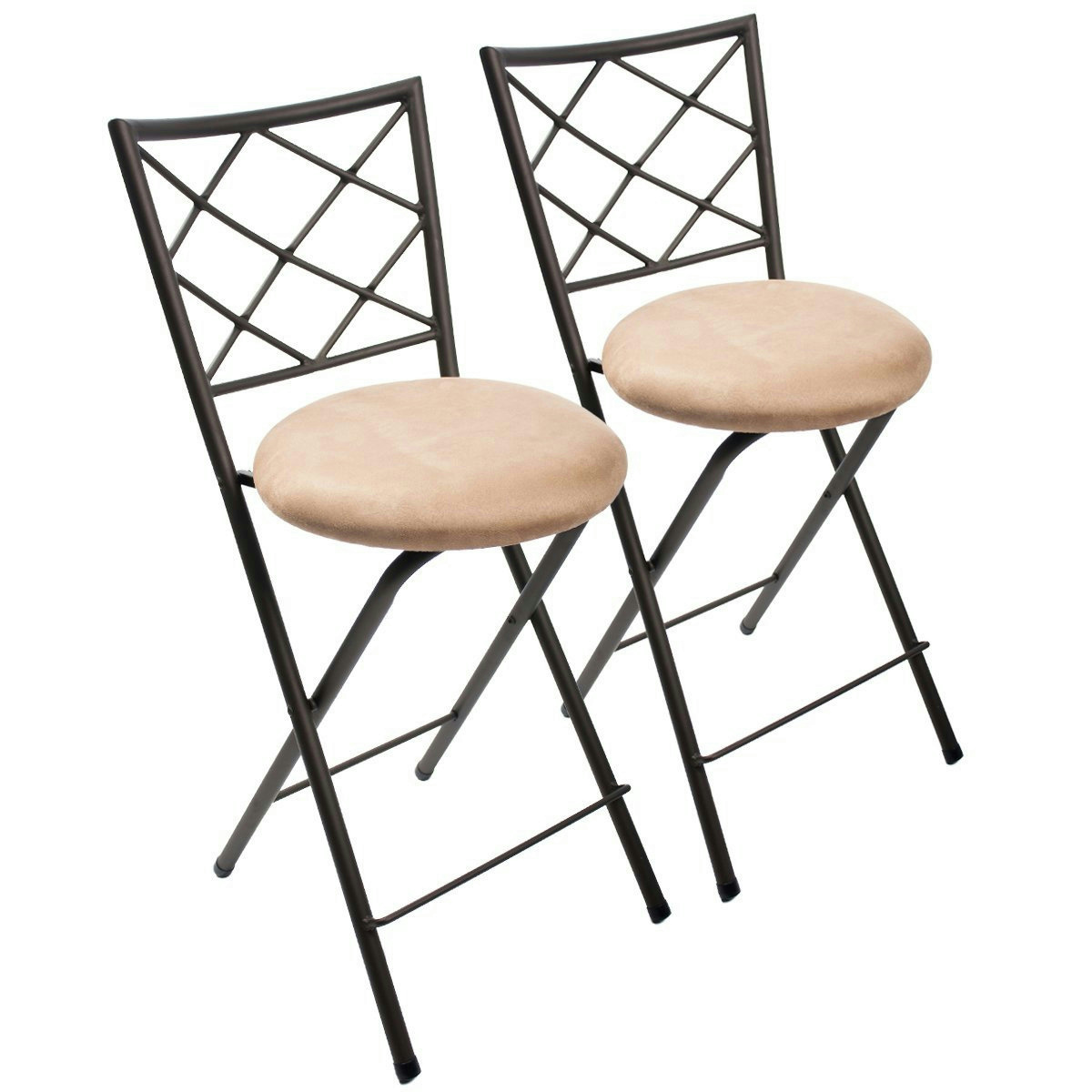 jcp home parker folding stool set bronze cushion seat bar bistro kitchen chair ebay. Black Bedroom Furniture Sets. Home Design Ideas
