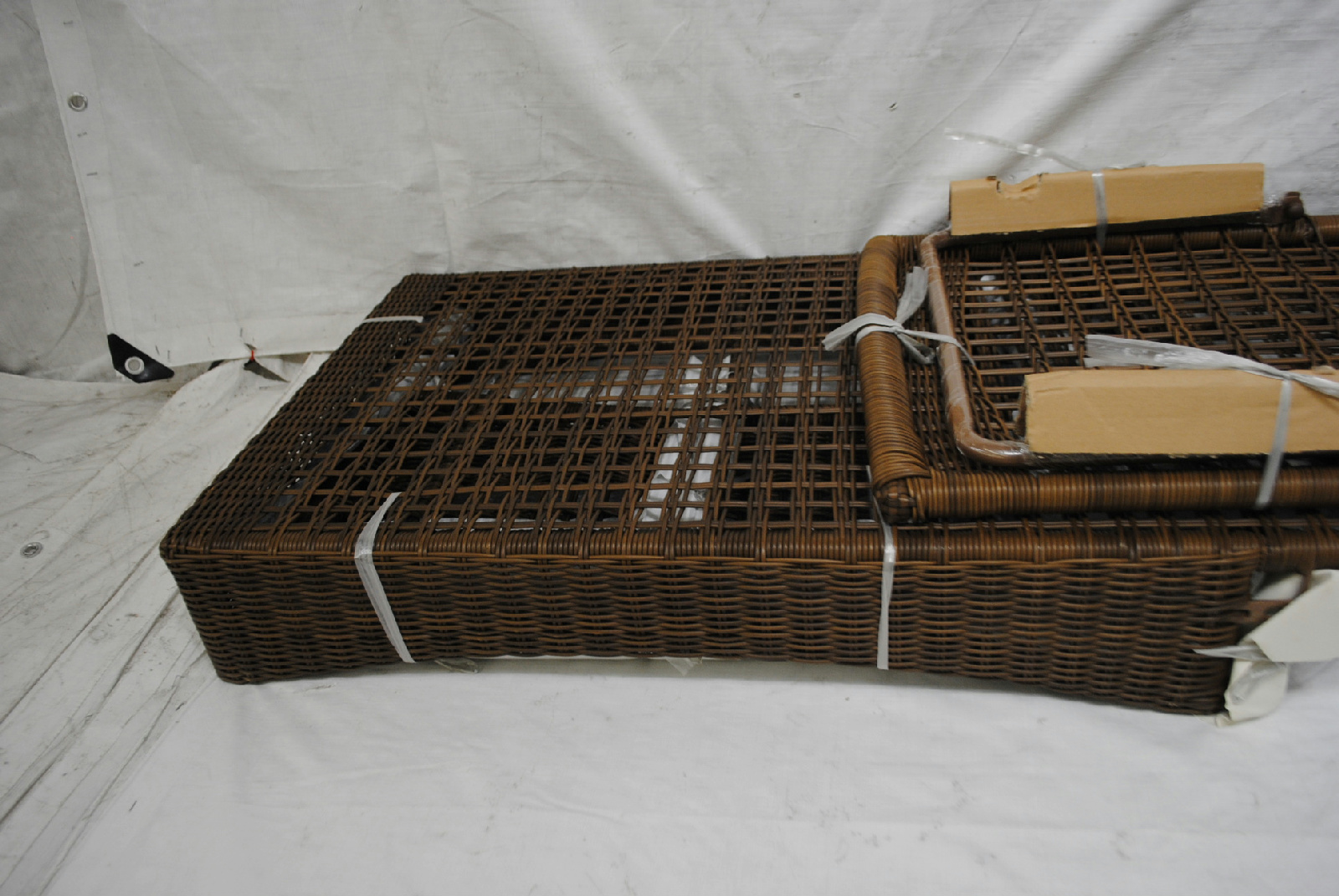 Spring haven brown all weather wicker patio chaise lounge for Brown wicker chaise lounge