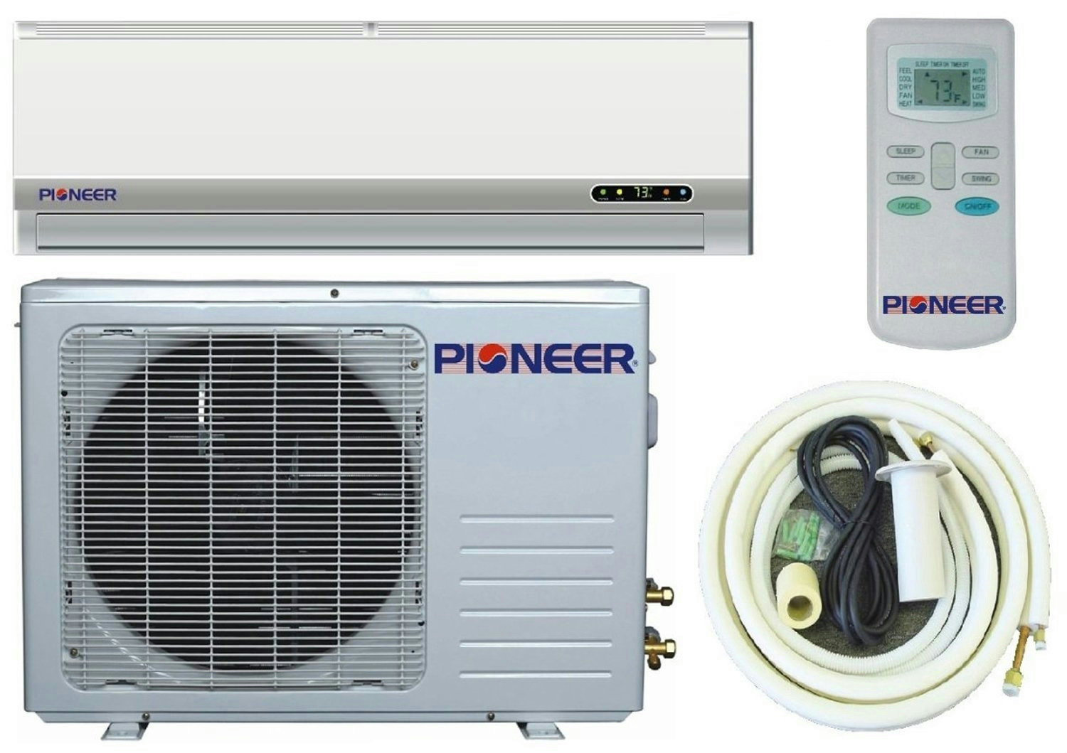 Pioneer Ductless Mini Split Air Conditioner Heat Pump 9000 BTU (3/4  #383D63