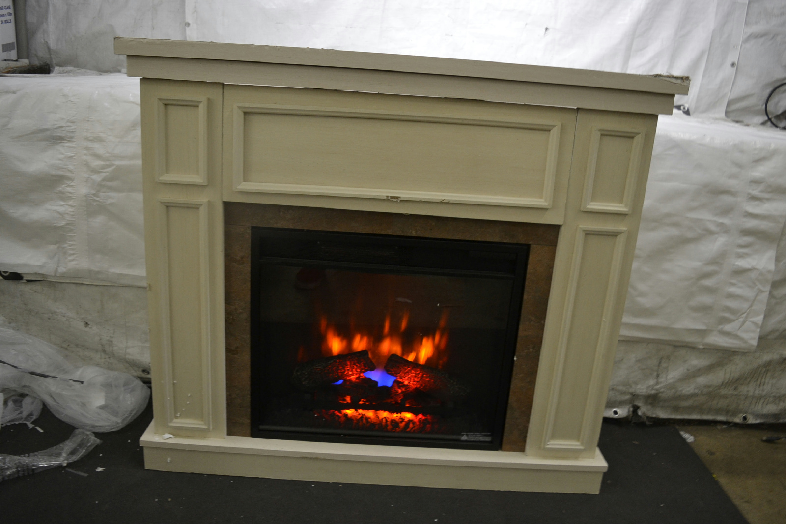 Hampton Bay Granville 43 In Convertible Electric Fireplace In Antique White Ebay