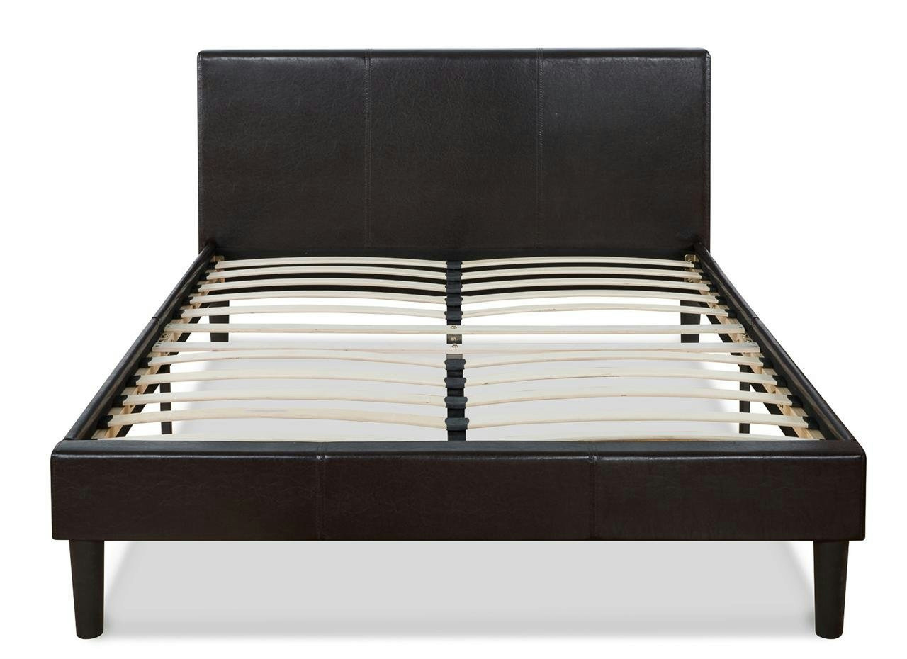 Faux Leather Platform Bed with Wooden Slats, Queen | eBay