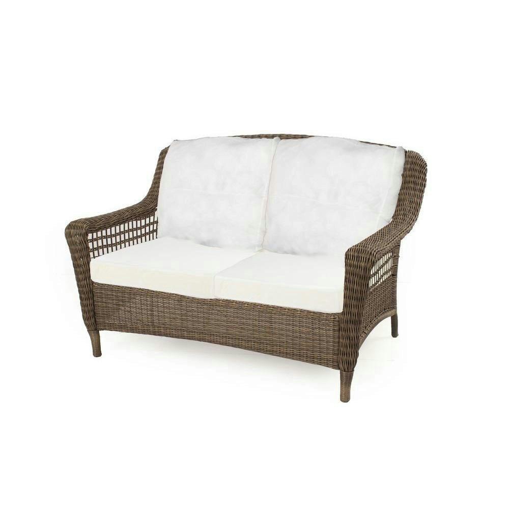 Spring Haven Grey All Weather Wicker Patio Loveseat With Bare Cushion Ebay