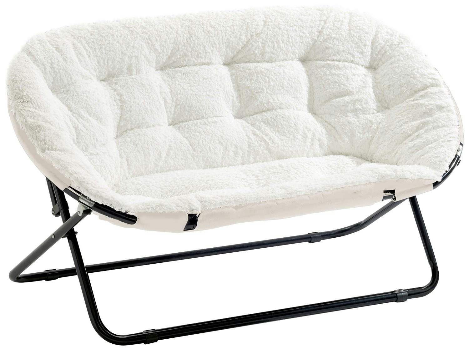 Urban Shop Double Saucer Chair White Sherpa