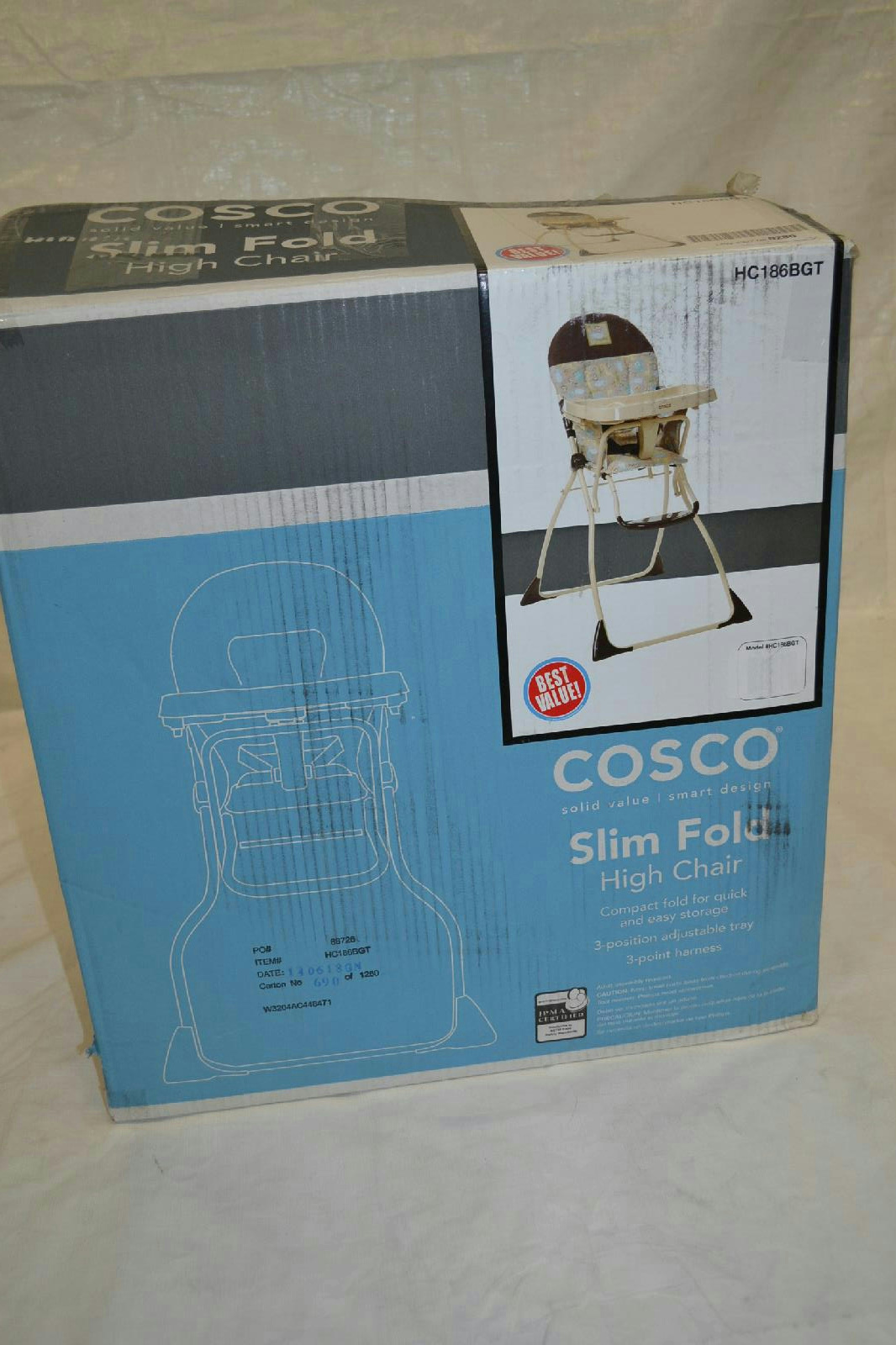 New Cosco Slim Fold High Chair With 3 Position Adjustable