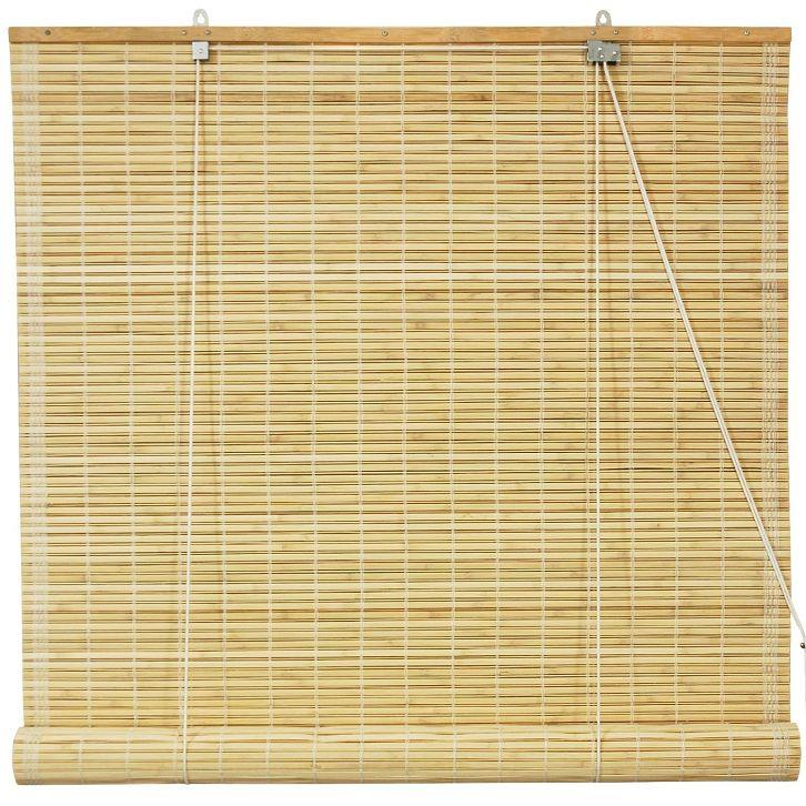 Oriental furniture bamboo roll up window blinds natural 48 for 20 inch window blinds