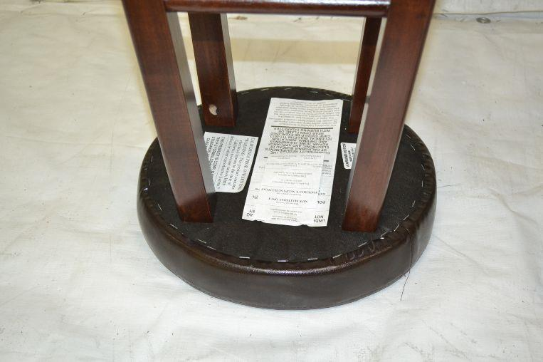 marta assembled round bar stool with pu leather cushion seat ebay