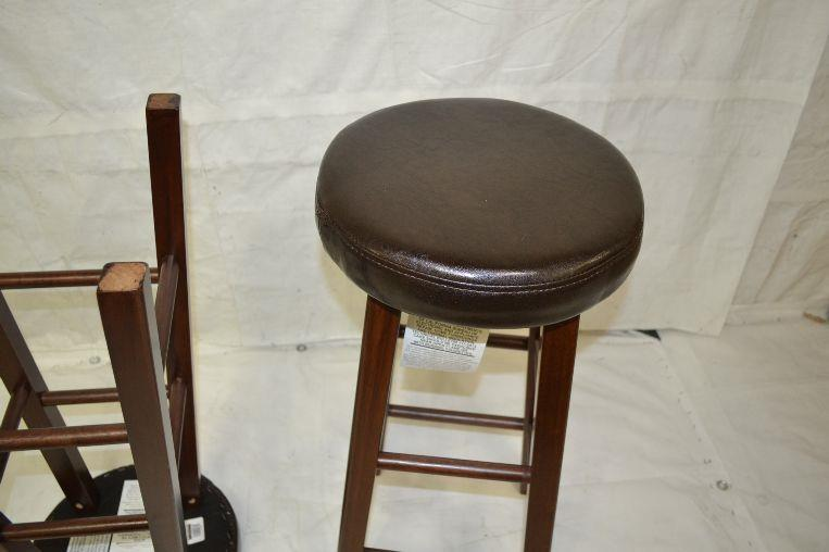 Winsome Wood Marta Assembled Round Bar Stool With PU Leather Cushion Seat EBay
