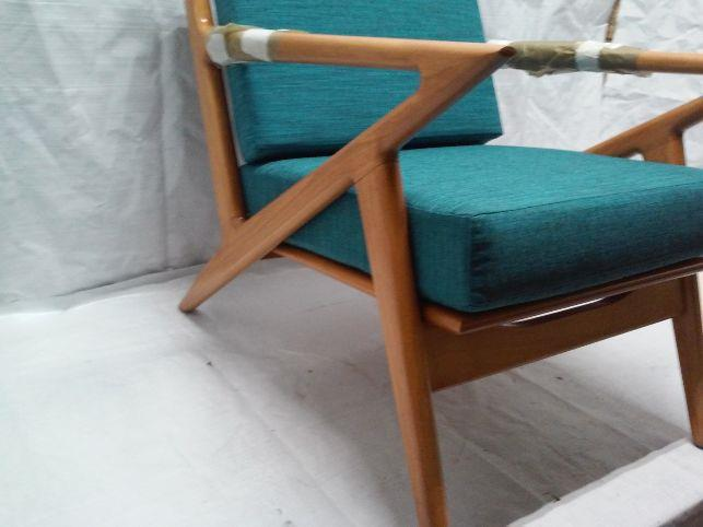 Details about danish z chair lucky turquoise honey stain
