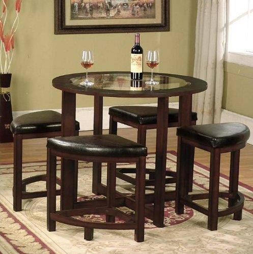 furniture cylina solid wood glass top round dining table with 4 chairs