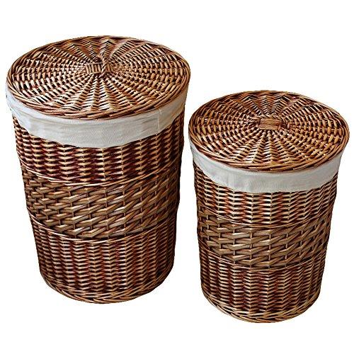 Kingwillowlaundry storage baskets with lid hamper handmade woven wicker ebay - Wicker laundry basket with liner and lid ...